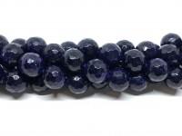 12mm facetslebet blå goldstone