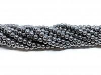 4mm sølv hæmatit perler