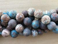 18mm matte runde perler brun og turkis