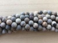 8mm matte perler brun og grå