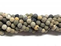 6mm matte perler af flower jaspis