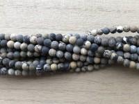 4mm matte perler flower jaspis