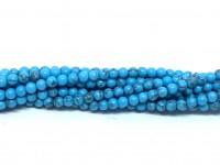 Farvet blå magnesit, rund 3mm, hel streng-20