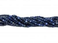 African blue stone, facetslebet rund 3mm, hel streng-20