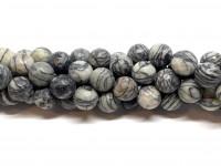 12mm facetslebne black veined jaspis perler