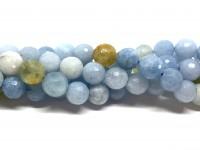 10mm facetslebne runde aquamarin perler