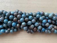 12mm runde perler af blå efterårs jaspis