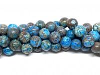10mm runde perler af blå efterårs jaspis