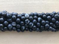 10mm perler af stribet sort agat