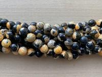10mm perler af gul og sort agat