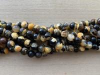 8mm perler af gul og sort agat