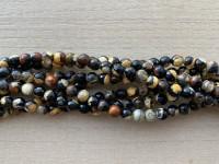 6mm perler af gul og sort agat