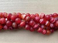 12mm mat stribet rød agat
