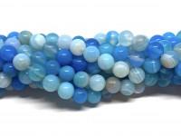 6mm stribet lyseblå perler