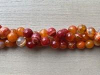 12mm facetslebne stribede orange perler