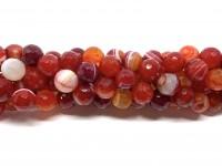 12mm facetslebne stribede orange-røde perler