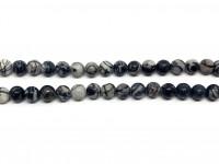 6mm black veined jaspis perler