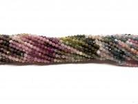 Multifarvet turmalin farvesorteret, facetslebet rund 2,5mm, hel streng-20