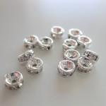 4mm rhinstens rondeller, sølvbelagte med klare sten, 10 stk-20