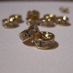 6mm rhinstens rondeller, guldbelagte med klare sten-20