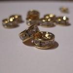 8mm rhinstens rondeller, guldbelagte med klare sten-20