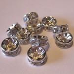 6mm rhinstens rondeller, sølvbelagte med klare sten, 10 stk-20