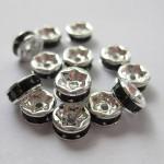 6mm rhinstens rondeller, sølvbelagte med sorte sten-20
