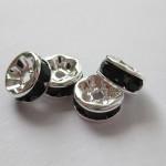 8mm rhinstens rondeller, sølvbelagte med sorte sten-20