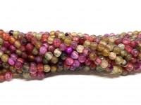 Farvet agat, facetslebet rund 4mm, hel streng #57-20