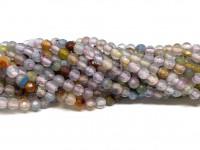 Farvet agat, facetslebet rund 4mm, hel streng #61-20