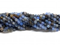 Farvet agat, facetslebet rund 4mm, hel streng #64-20