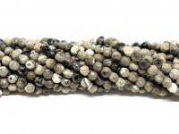 Farvet agat, facetslebet rund 4mm, hel streng #67-20