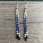 blå og sølv øreringe