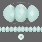 Swarovski® crystal, 8x6mm facetslebet rondel, Mint alabaster-20