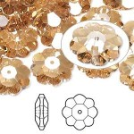 Swarovski® crystal, 14mm marguerite lochrose flower, Crystal golden shadow-20
