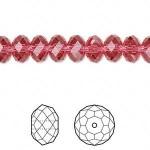 Swarovski® crystal, 8x6mm facetslebet rondel, Indian pink-20