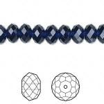 Swarovski® crystal, 8x6mm facetslebet rondel, Dark indigo-20