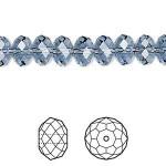 Swarovski® crystal, 8x6mm facetslebet rondel, Denim blue-20