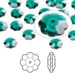 Swarovski® crystal, 8mm marguerite lochrose flower, Emerald-20