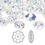 Swarovski® crystal, 10mm marguerite lochrose flower, Crystal AB-20