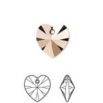 Swarovski Crystal Passions, crystal rose gold 2x,14x14mm Xilion heart, 1 stk-20