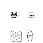 Swarovski crystal, 6mm facetslebet mini square, crystal rose gold-20