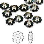 Swarovski® crystal, 10mm marguerite lochrose flower, Crystal tabac, foil back-20