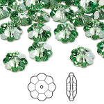 Swarovski® crystal, 10mm marguerite lochrose flower, Peridot, foil back-20