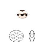 Swarovski crystal, 10x8mm facetslebet mini oval, crystal rose gold 2X-20