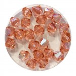 6mm swarovski bicones rose peach shimmer