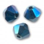 3mm swarovski bicones metallic blue 2x