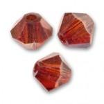 4mm swarovski bicones crystal red magna