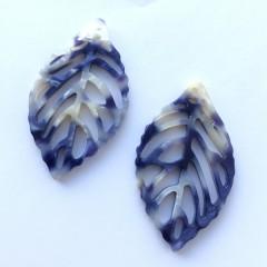 Blad vedhæng, farve #01 blå-lilla og hvid