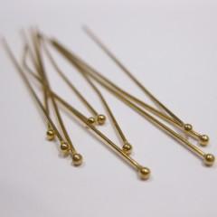 50mm forgyldte perlestave med 1,5mm hovede, 10 stk